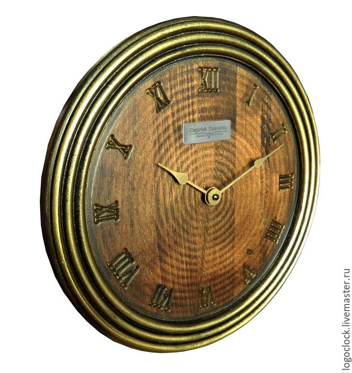 Часы для дома ручной работы. Ярмарка Мастеров - ручная работа. Купить Настенные часы. Бук. Старое золото. Пять. Handmade.