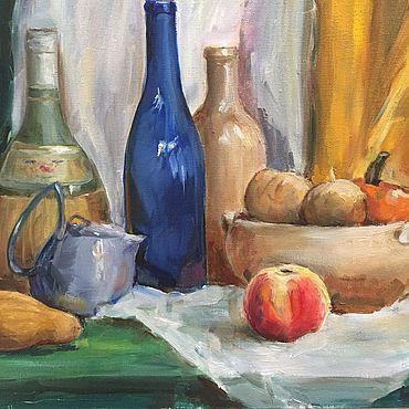 Картины и панно ручной работы. Ярмарка Мастеров - ручная работа Натюрморт с бутылками и фруктами(45-35). Handmade.
