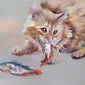 Картины и панно handmade. Livemaster - original item Pastel painting of cat and perch (grey beige red). Handmade.