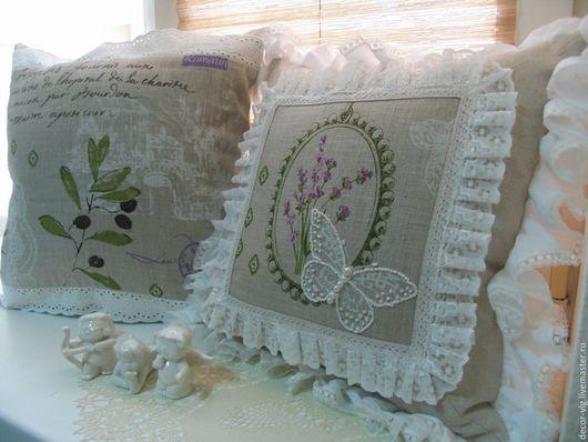 Текстиль, ковры ручной работы. Ярмарка Мастеров - ручная работа. Купить Декоративные подушки из льна в стиле прованс. Handmade. Бежевый