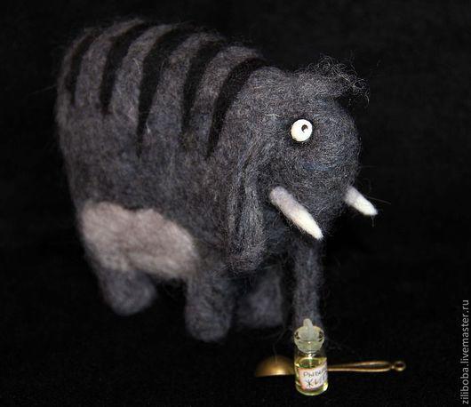 Сказочные персонажи ручной работы. Ярмарка Мастеров - ручная работа. Купить Слон редкий полосатый, шерстяной. Handmade. Слон