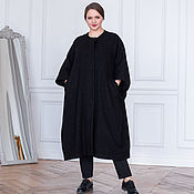 Одежда handmade. Livemaster - original item Black boucle coat, half-fur. Handmade.