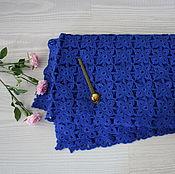 Для дома и интерьера ручной работы. Ярмарка Мастеров - ручная работа Плед синий вязаный крючком. Handmade.