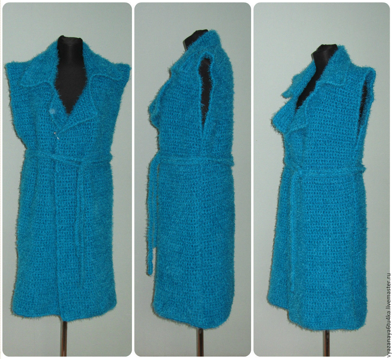 Turquoise knit coat ' Birusinka ', Coats, Moscow,  Фото №1