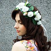 """Свадебный салон ручной работы. Ярмарка Мастеров - ручная работа Свадебный венок """"Белые розы"""". Handmade."""