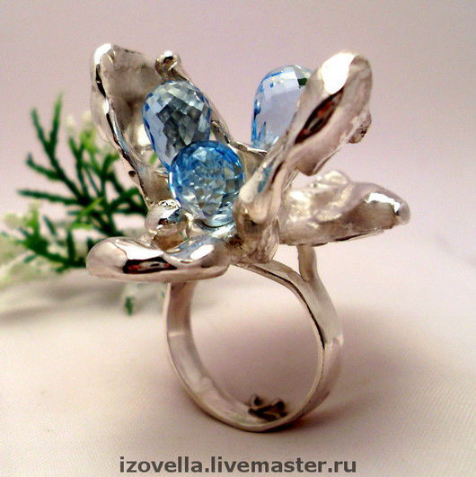 Rings handmade. Livemaster - handmade. Buy Ring 'Flights in dream and reality' - 925 sterling silver, blue Topaz..