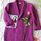 Одежда ручной работы. Ярмарка Мастеров - ручная работа Фиолетовый oversize вязаный кардиган ручной работы. Handmade.