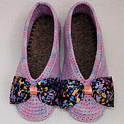 """Обувь ручной работы. Ярмарка Мастеров - ручная работа Тапочки-балетки женские """"Сиреневый туман"""" вязаные крючком. Handmade."""