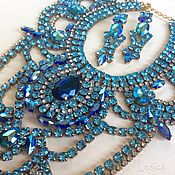 Винтаж handmade. Livemaster - original item Demi-paryura necklace and earring Bijoux MG Czech Republic 50-60 g. Aqua. Handmade.