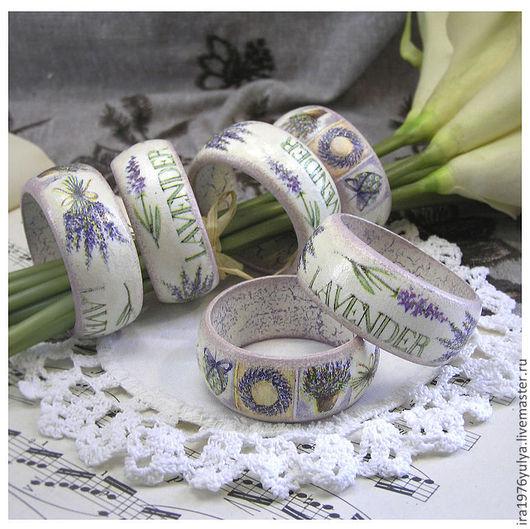 """Кухня ручной работы. Ярмарка Мастеров - ручная работа. Купить кольца для салфеток """"Лаванда"""". Handmade. Васильковый, праздничная сервировка"""