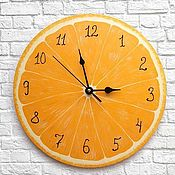 Для дома и интерьера handmade. Livemaster - original item Wall clock kitchen Orange. Handmade.
