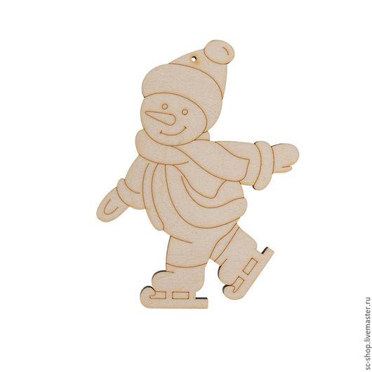 Декупаж и роспись ручной работы. Ярмарка Мастеров - ручная работа. Купить Снеговик на коньках 12 см. Handmade. Бежевый