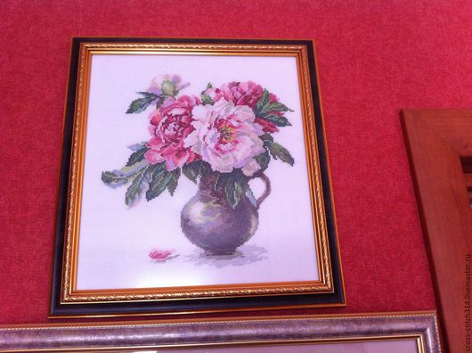 Картины цветов ручной работы. Ярмарка Мастеров - ручная работа. Купить Вышитая картина Пионы в кушине. Handmade. Бледно-розовый