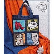 Сумки и аксессуары handmade. Livemaster - original item POP-ART denim shopping bag. Handmade.