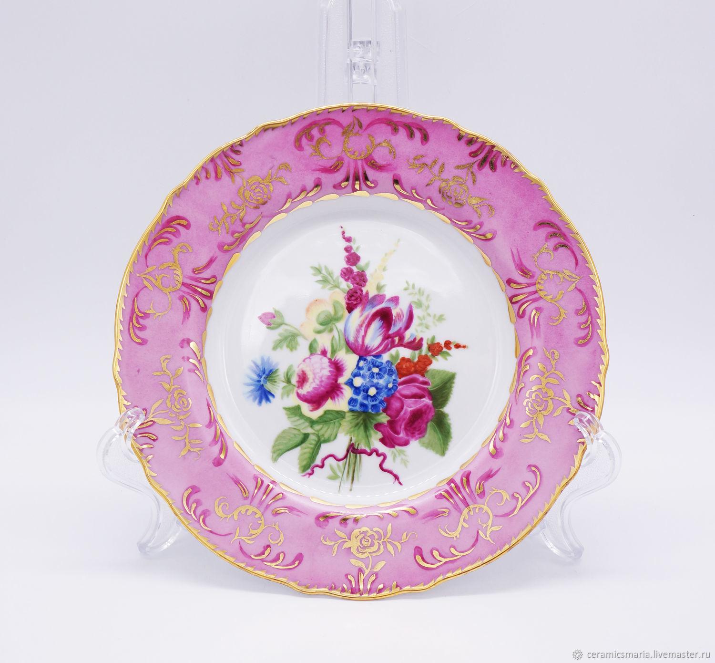 Фарфоровая тарелка с росписью цветы под старину, Тарелки, Мытищи,  Фото №1