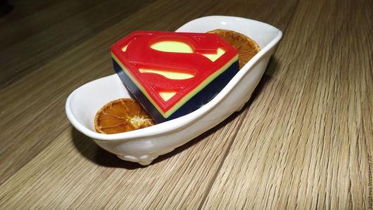 """Мыло ручной работы. Ярмарка Мастеров - ручная работа. Купить Сувенирное мыло ручной работы """"Настоящий супермен"""". Handmade. Комбинированный"""