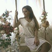 Одежда ручной работы. Ярмарка Мастеров - ручная работа Ажурное платье-сарафан спицами. Handmade.