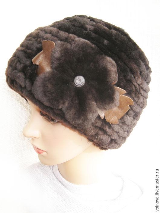 Шапки ручной работы. Ярмарка Мастеров - ручная работа. Купить Шапка из овчины вязанная, зимняя, шапка женская.. Handmade. Коричневый