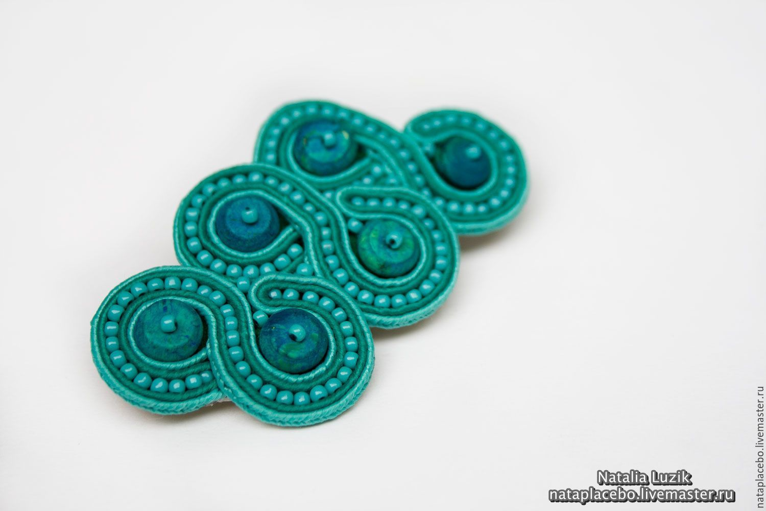 Soutache brooch Sea wave turquoise buy soutache jewelry, Brooches, St. Petersburg,  Фото №1