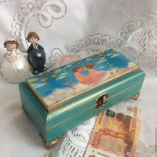 """Подарки для влюбленных ручной работы. Ярмарка Мастеров - ручная работа. Купить """"Все мы ангелы, когда влюблены"""" Купюрница - шкатулка свадебная. Handmade."""