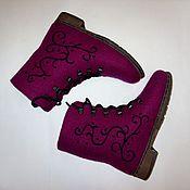 """Обувь ручной работы. Ярмарка Мастеров - ручная работа Ботинки зимние """"Бордо"""". Handmade."""