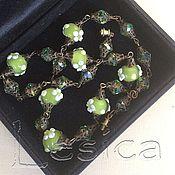 Винтаж handmade. Livemaster - original item Beads necklace green Murano glass 30-ies. Handmade.
