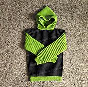 Одежда ручной работы. Ярмарка Мастеров - ручная работа Свитер черно-зеленый из акрила. Handmade.