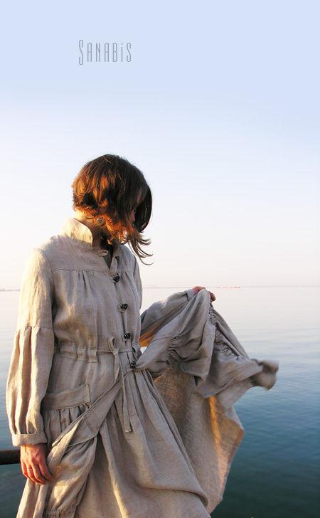 """Верхняя одежда ручной работы. Ярмарка Мастеров - ручная работа. Купить Легкое льняное пальто """" Бохо шик"""". Handmade."""