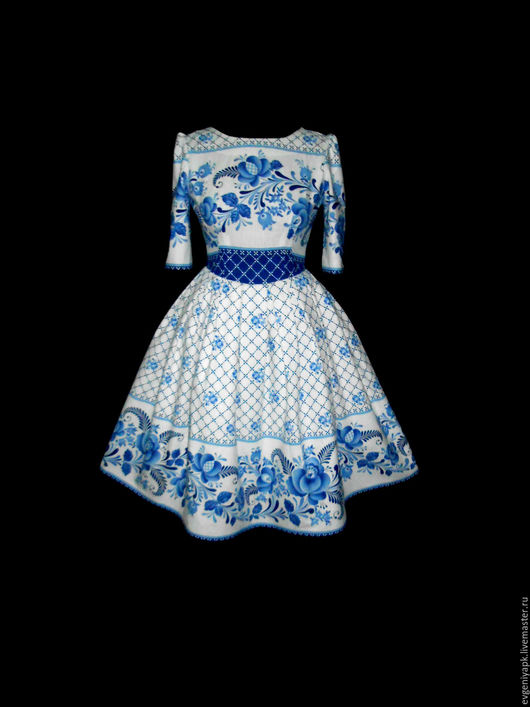 """Платья ручной работы. Ярмарка Мастеров - ручная работа. Купить Платье """"Гжелика"""". Handmade. Комбинированный, русский стиль, платье летнее"""