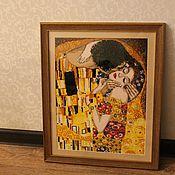 """Картины и панно ручной работы. Ярмарка Мастеров - ручная работа Вышитая картина """"Поцелуй"""" Г.Климт. Handmade."""