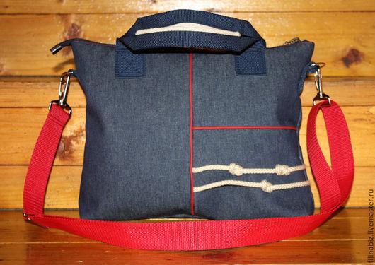 """Мужские сумки ручной работы. Ярмарка Мастеров - ручная работа. Купить Сумка """"Навеяно морем"""". Handmade. Тёмно-синий, кант"""