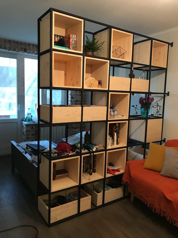 Стеллаж в стиле loft из массива сосны и металла, Шкафы, Москва,  Фото №1