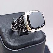 Мужское кольцо. Серебро. Оникс.