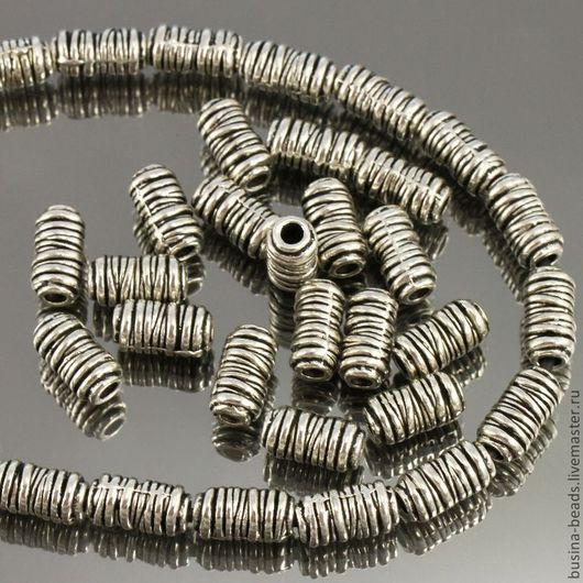 Бусины металлические литые цилиндрической формы напоминающие намотку проволоки с покрытием античное серебро для сборки украшений комплектами по 10 бусин