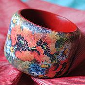 Украшения ручной работы. Ярмарка Мастеров - ручная работа широкий деревянный браслет Маки, декупаж. Handmade.