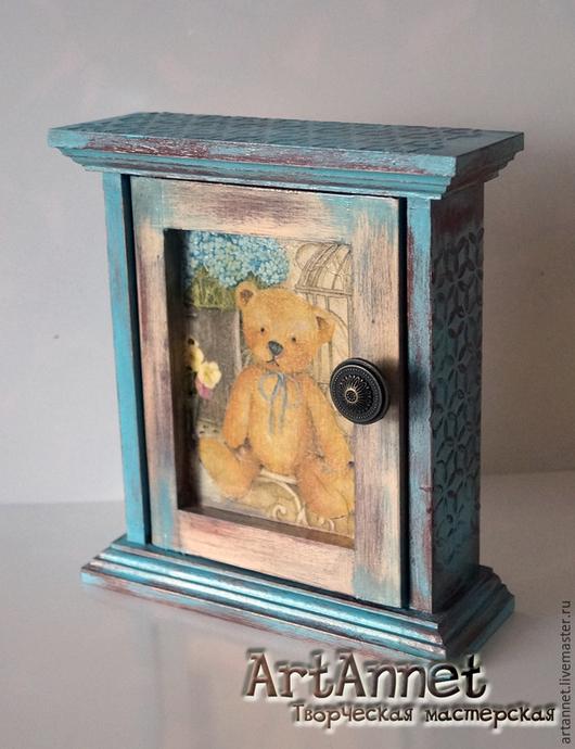 """Прихожая ручной работы. Ярмарка Мастеров - ручная работа. Купить Ключница """"Little Bear"""". Handmade. Разноцветный, ключница в прихожую, винтаж"""