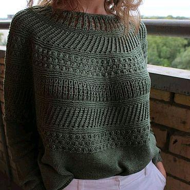 Одежда ручной работы. Ярмарка Мастеров - ручная работа Зелёный пуловер оверсайз. Handmade.