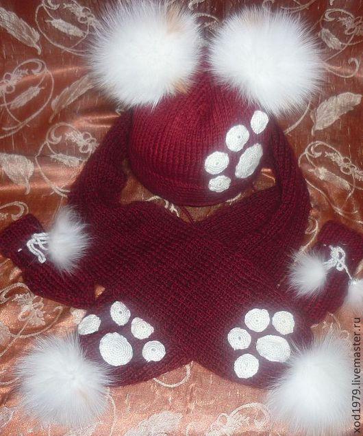 Комплект  Лапки зимний состоит из шапочки , шарфа и варежек и выполнен из шерстянной пряжи брилиант с добавлением мохера. ,  шапка с подкладом 1900 шарф 1100 р варежки - 500 р , комплект 3400