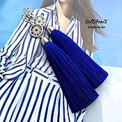 Серьги-кисти Evening sun синие васильковые шелк фианиты