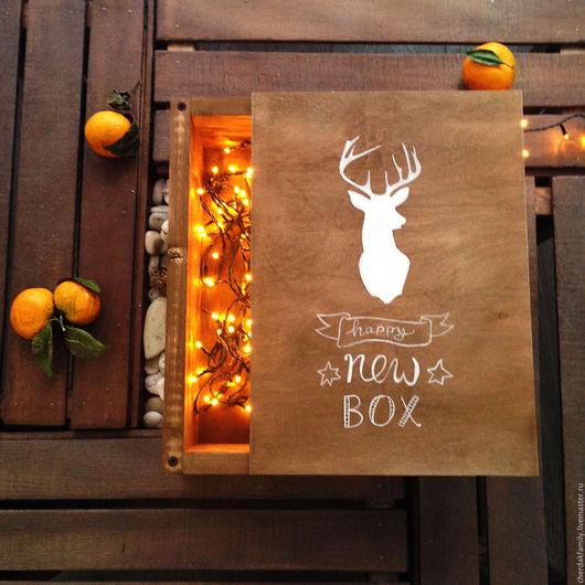 Новый год 2017 ручной работы. Ярмарка Мастеров - ручная работа. Купить Ящик деревянный новогодний. Handmade. Коричневый, рождество