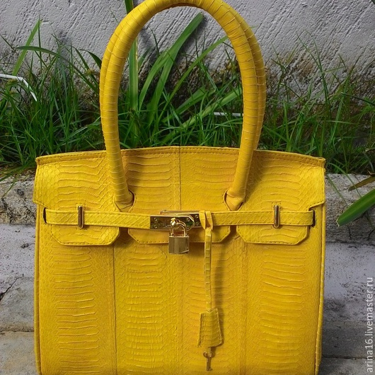Женские сумки ручной работы. Ярмарка Мастеров - ручная работа. Купить сумка Birkin из кобры. Handmade. Желтый, сумка из кобры