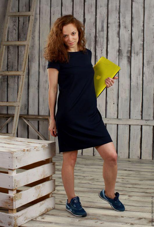 Платья ручной работы. Ярмарка Мастеров - ручная работа. Купить Платье из плотного трикотажа СИНЕЕ. Handmade. Тёмно-синий