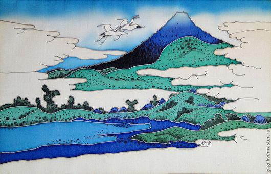 Пейзаж ручной работы. Ярмарка Мастеров - ручная работа. Купить Япония. Журавли.. Handmade. Голубой, изумрудный, зеленый, синий, Ультрамарин