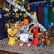 Снеговики ручной работы. Ярмарка Мастеров - ручная работа Снеговик везет подарки. Handmade.