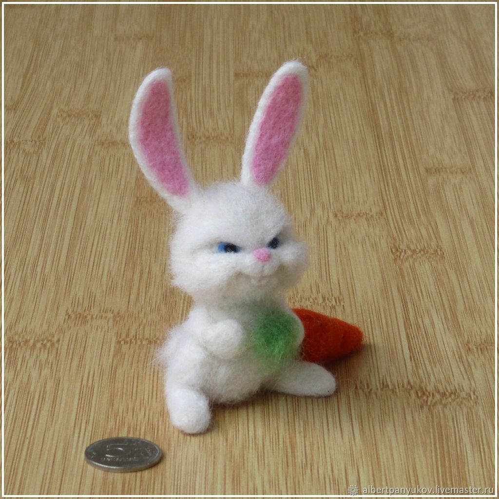Сувенир из шерсти «Кролик Снежок», Войлочная игрушка, Сыктывкар,  Фото №1