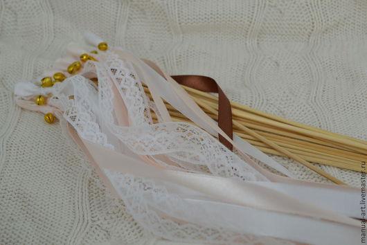 Свадебные аксессуары ручной работы. Ярмарка Мастеров - ручная работа. Купить Палочки-махалочки. Handmade. Бежевый, лепестки роз, кружева