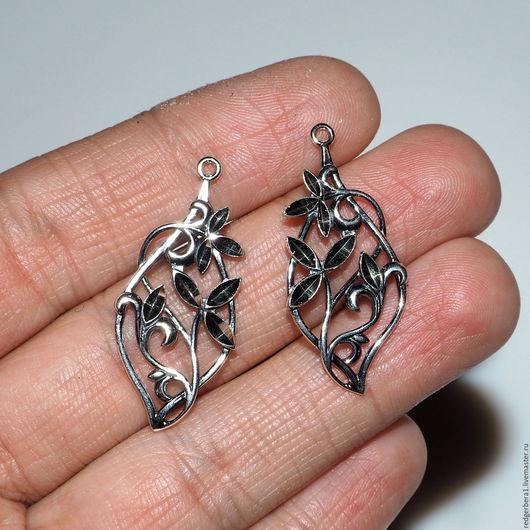 Для украшений ручной работы. Ярмарка Мастеров - ручная работа. Купить Подвески парные с узором и алмазной гранью, серебрение 925 пробы. Handmade.