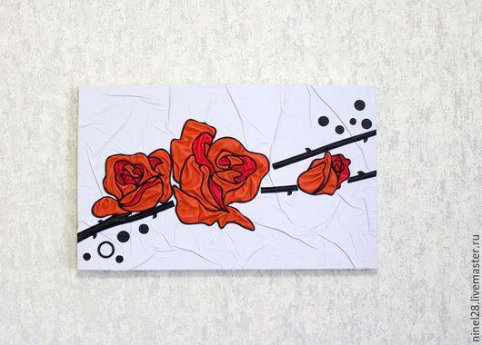 """Картины цветов ручной работы. Ярмарка Мастеров - ручная работа. Купить Картина из кожи """"Розы"""".. Handmade. Авторская работа"""