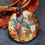 Украшения ручной работы. Ярмарка Мастеров - ручная работа кулон из полимерной глины мозаика 10 яркий. Handmade.