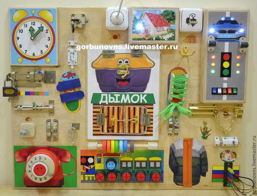 """Развивающие игрушки ручной работы. Ярмарка Мастеров - ручная работа. Купить Бизиборд  Развивающий Модуль Доска  """"Универсальный Тренажёр""""+эффекты. Handmade."""